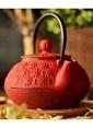 Bambum Taşev Linden - Papatya 800 ml Kırmızı Döküm Çaydanlık Renkli